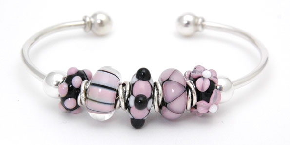 Light Pink & Black Charm Bead Set
